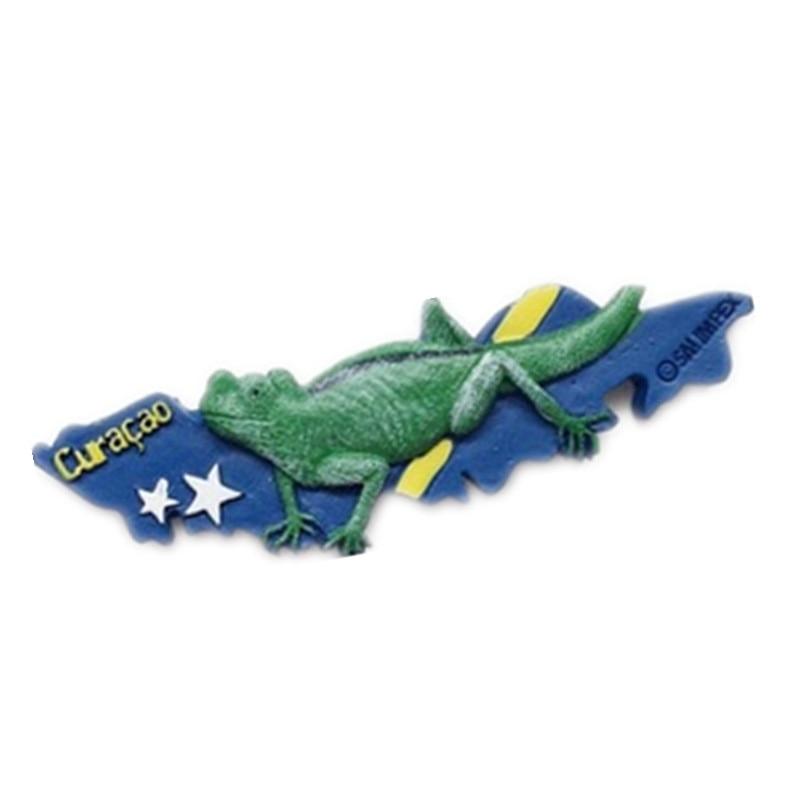 Curacao Holland Lizard Resin Fridge Magnet World Travel Souvenirs Home Decor Crafts Refrigerator Stickers
