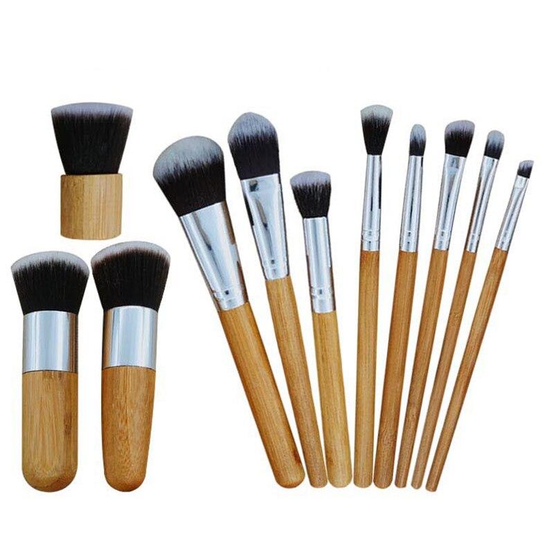 Juego de 11 Uds de brochas de maquillaje y sombra de ojos, brochas de maquillaje de bambú con mango de madera, brocha cosmética, brocha correctora de contorno, herramienta de cepillado de belleza