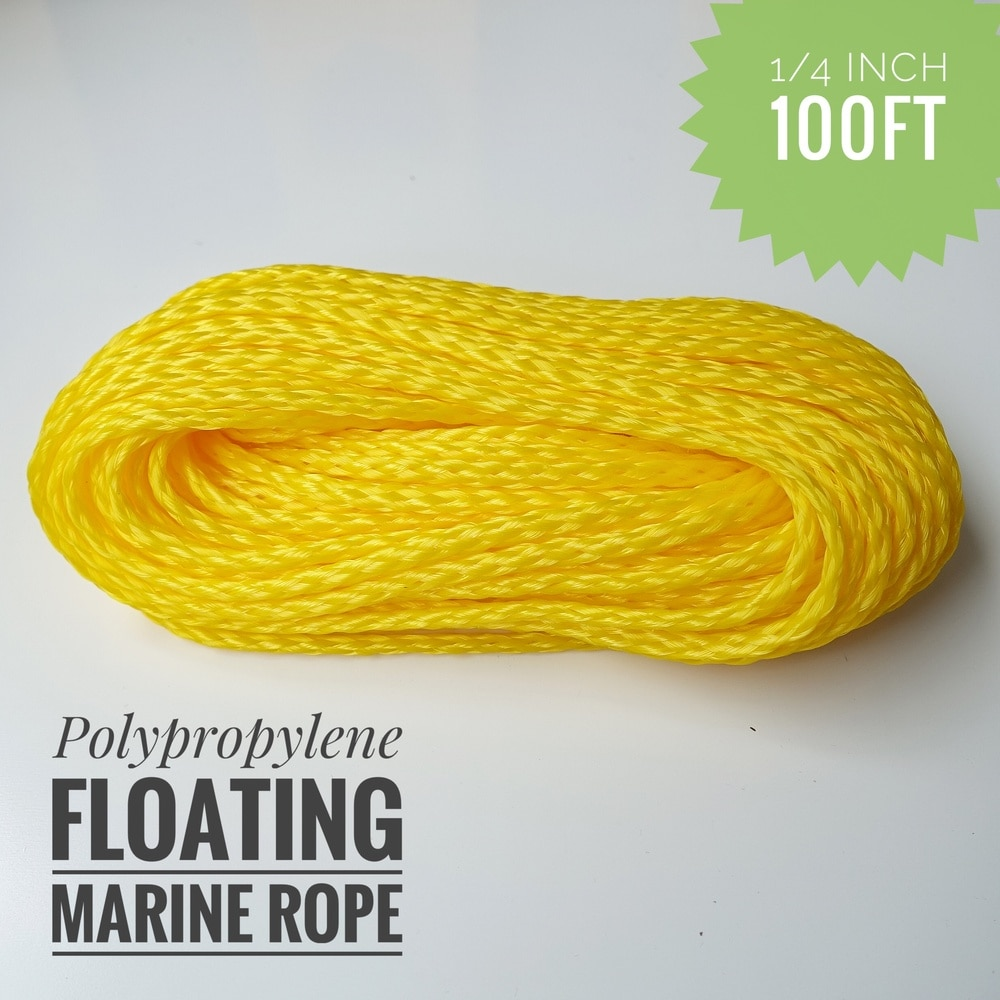 Corde dancrage flottante légère en polypropylène   Creuse de 1/4 pouces, corde damarrage, corde de quai, corde de bateau, corde de voile pour bateau