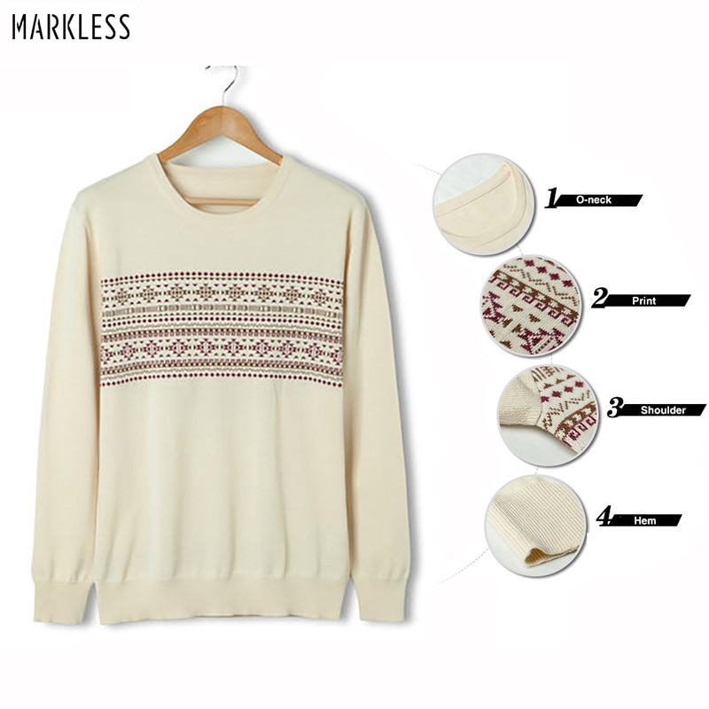 Markless O-neck Pullover Sweater Men 100% Cotton Pullover Men Winter Warm Print Christmas Sweaters pull homme sueter hombre недорого