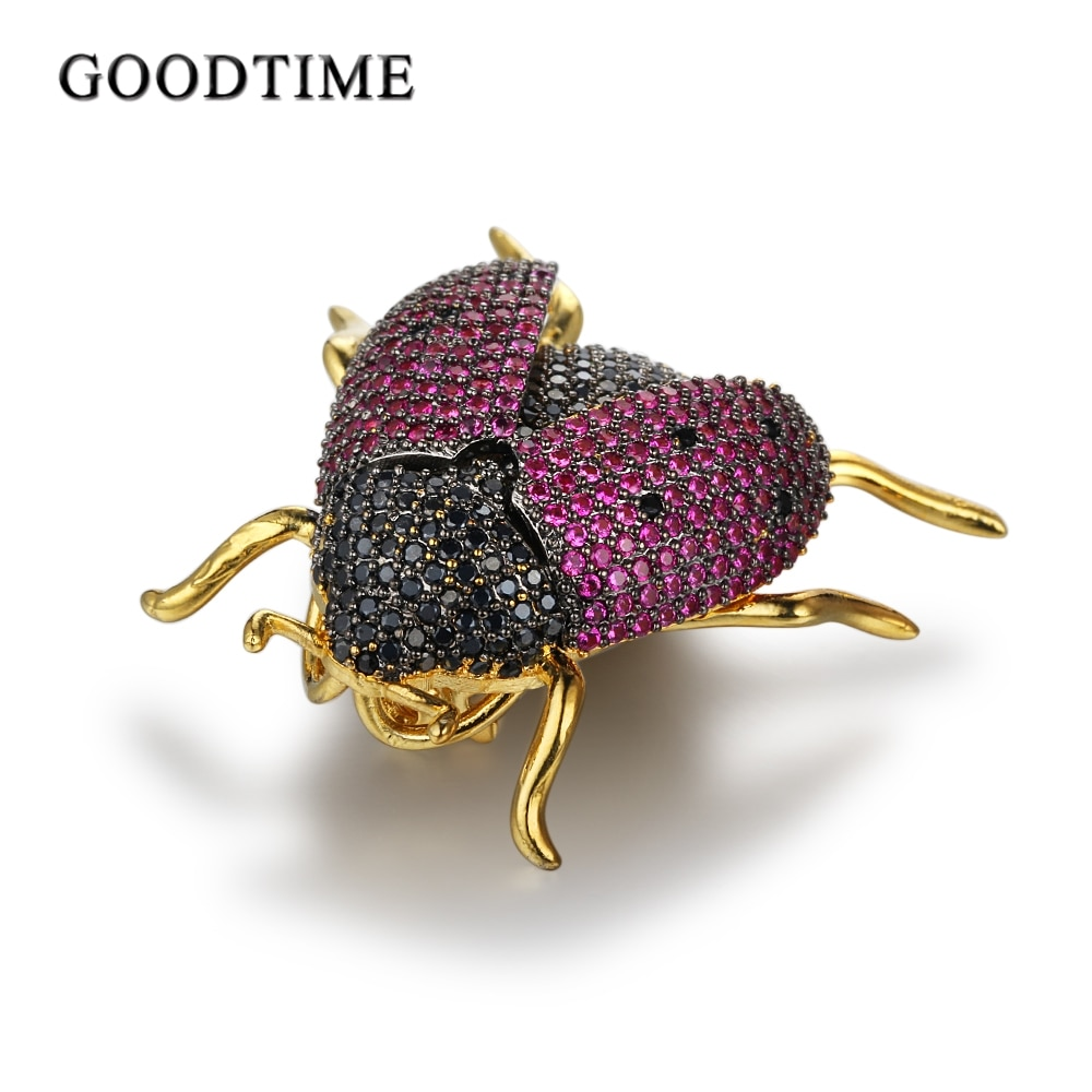Accesorios de ropa de moda mariquita Broches de insectos cristales broches de diamantes de imitación para mujer abrigo con joyas broches para vestidos broche
