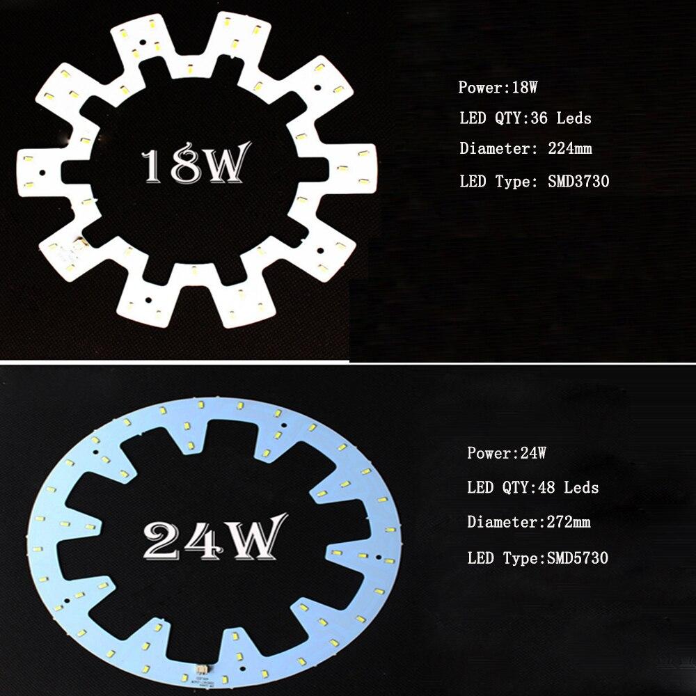 Luz de techo LED fuente modificada bombilla LED redonda SMD5730 Luz de techo LED PCB tablero fuente modificada 10 W 12 W 18 W 24 W dormitorio