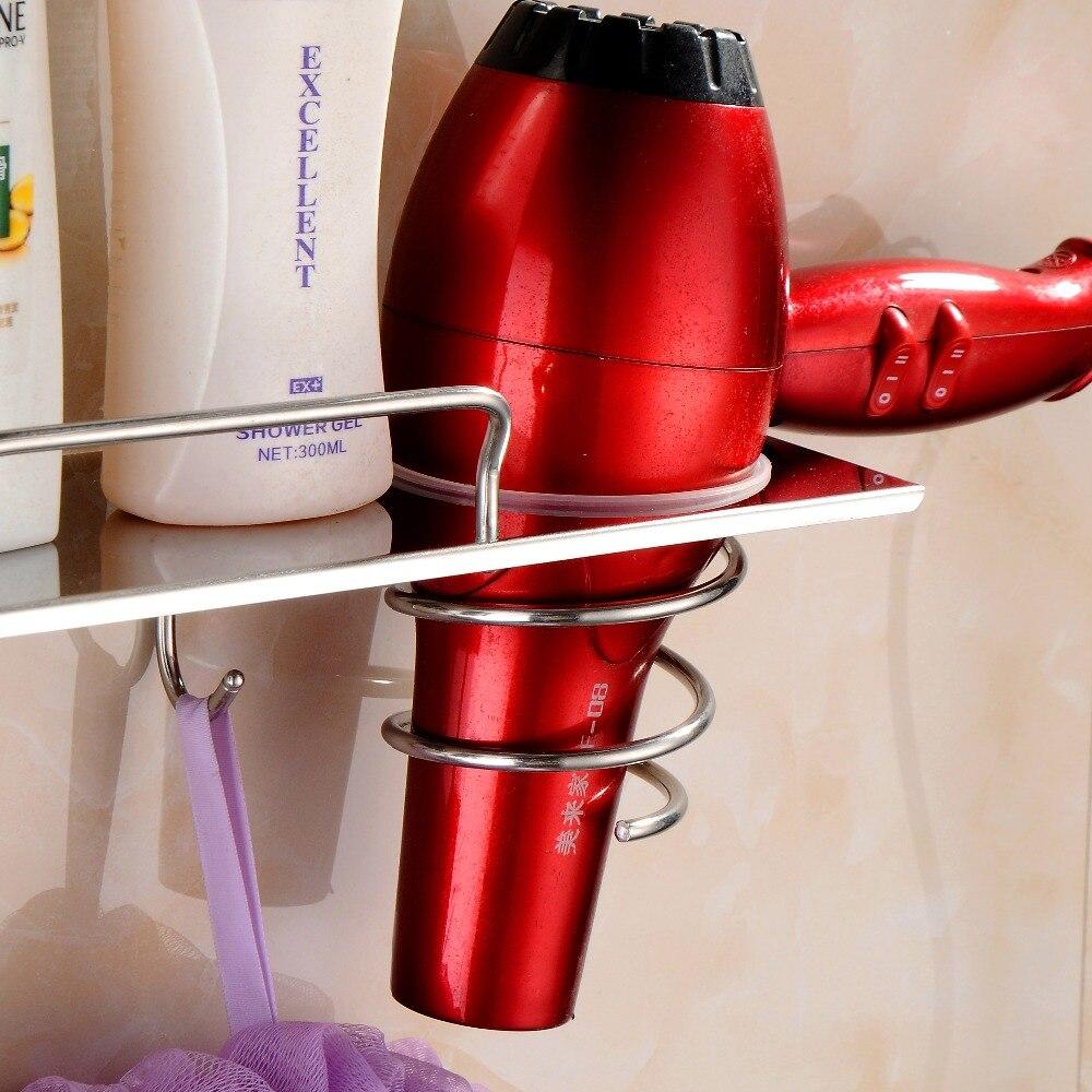 SmileMonkey Hair dryer rack Bathroom  Multi-function Wall Mounted Save Shelf Storage Organization SUS304 stainless steel shelf