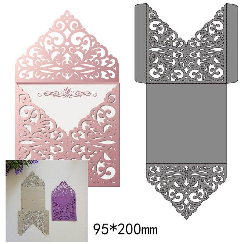 Laço oco envelope de corte de metal dados para diy scrapbook gravando papel ofício envelope criativo corte dados novo 9.5*20cm