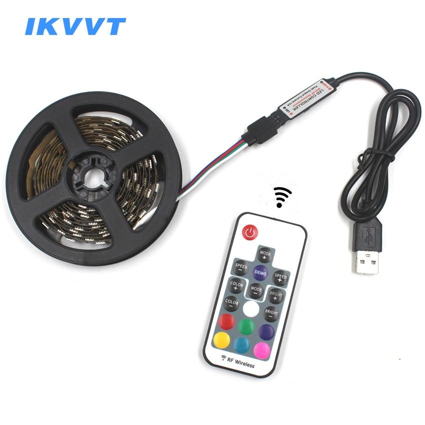 IKVVT 5V 1M 2M no impermeable 5050 RGB Cable USB LED tira de luces 17 teclas RF control remoto iluminación de fondo de TV lámpara de decoración