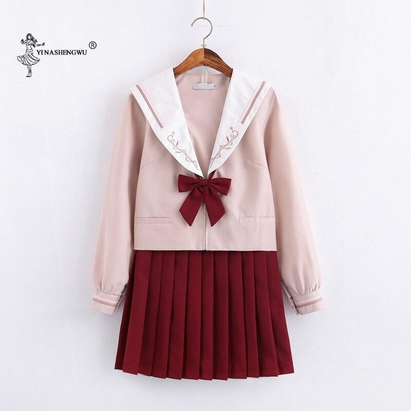 Uniformes JK de manga larga traje de marinero japonés uniforme escolar Cosplay estudiante Jk Academia ropa vino falda roja Falda plisada