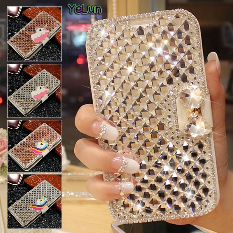 YeLun Voor LG X max K3 X mach X stijl Stylo 2 K5 LS775 X Cam M2 K8 K4 G5 k7 V10 3D Diamond Crystal Luxe Flip PU Leather Case