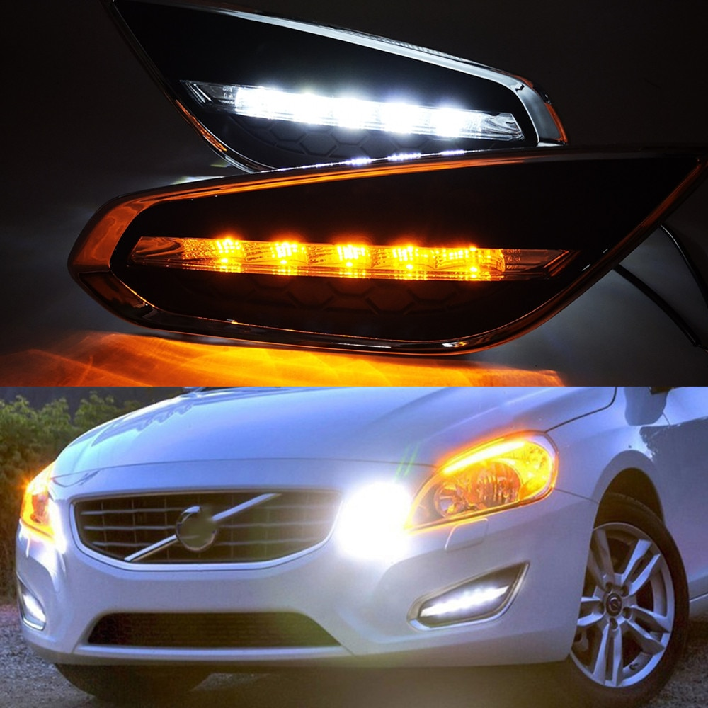 Intermitente para coche 1Set para Volvo S60 2009, 2010, 2012, 2013 LED DRL luces de circulación diurna luz cubierta de luz antiniebla con señal de giro, lámpara