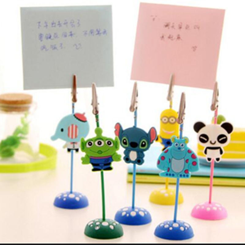 color cube stand alligator wire desk card note picture memo photo clip holder table wedding party place favor personalized gift Kawaii 6Pcs/Lot Cute Cartoon Stand Desk Card Note Picture Memo Photo Clip Holder Table Wedding Part Gift Free Shipping