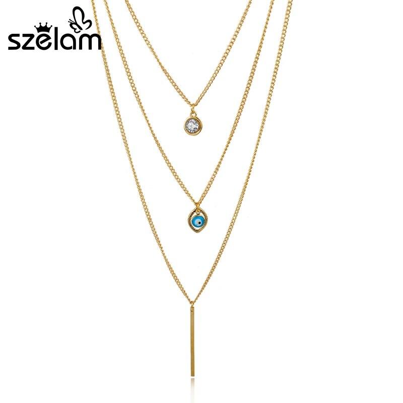 Szelam Vintage Long Pendant Necklaces For Women Gold Color Fatima Hand Evil Eye Multilayer Necklaces Collares 2019 Sne150823