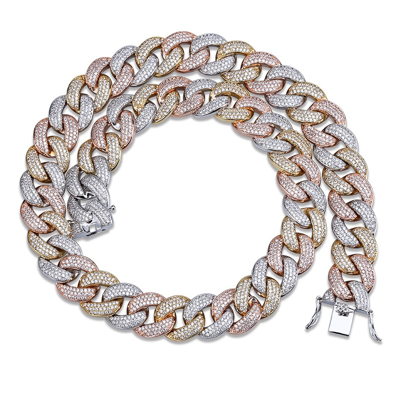 JINAO New 18MM Maimi Cuban Link Chain Necklace &Rose Color Iced Out Cubic Zircon Hip Hop Jewelry For Men Women Gift