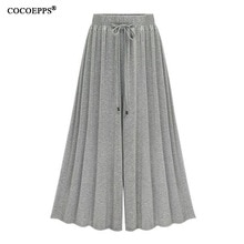 Summer Elegant Elastic Women High Waist Ruffled Chiffon Wide-Leg Pants Big Size Loose Flared Pants Trousers Skirt Casual Bottom