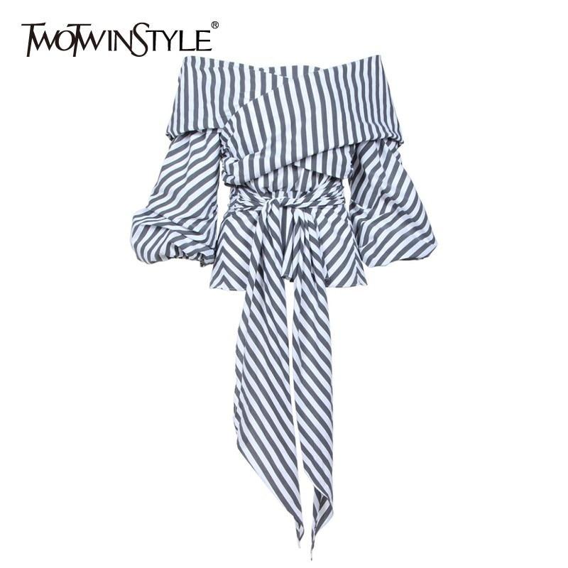 Blusa Casual de rayas TWOTWINSTYLE para mujer, Camisa ajustada de media manga con cuello de barco, ropa de verano de moda para mujer 2020, nueva