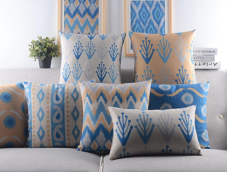 Fresh style Geometric abstraction pillow cushion Linen cotton Cushion   office home decorate sofa cushions