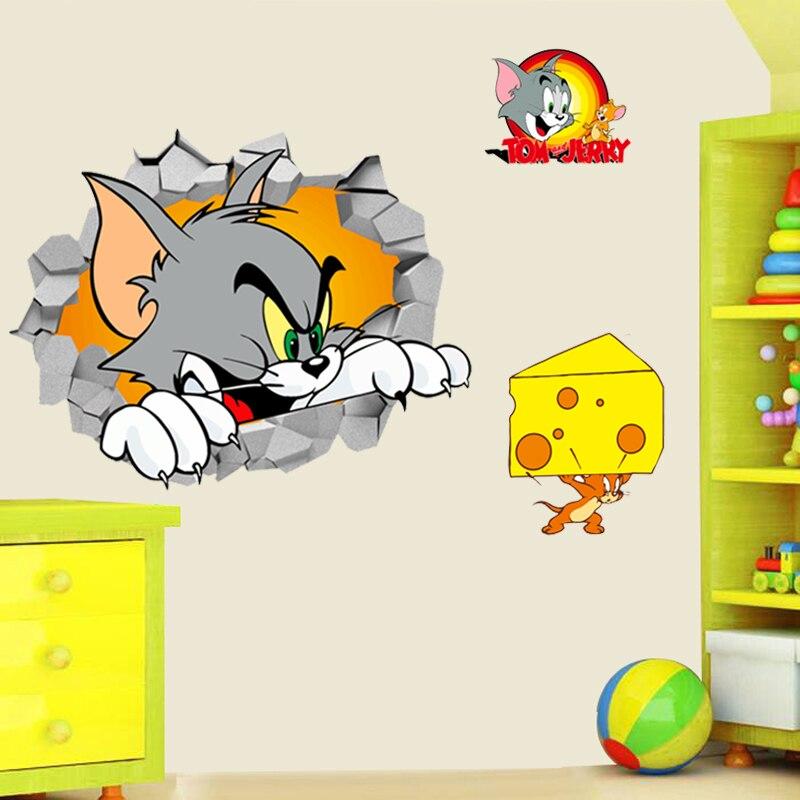 3d tom jerry através adesivos de parede para quarto das crianças decoração da arte da parede dos desenhos animados filme mouse e gato decalques de parede diy posters presente