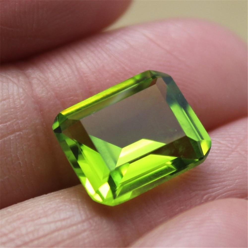 Joanlyn peridoto rectángulo facetado piedra preciosa Esmeralda corte gema peridoto 10X12mm C18G