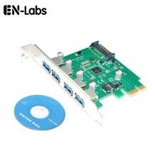 En-labs carte dextension 4 ports PCIE PCI-e vers USB 3.0-contrôleur de Hub USB 3.0 adaptateur de carte PCI Express avec alimentation supplémentaire SATA 15 broches