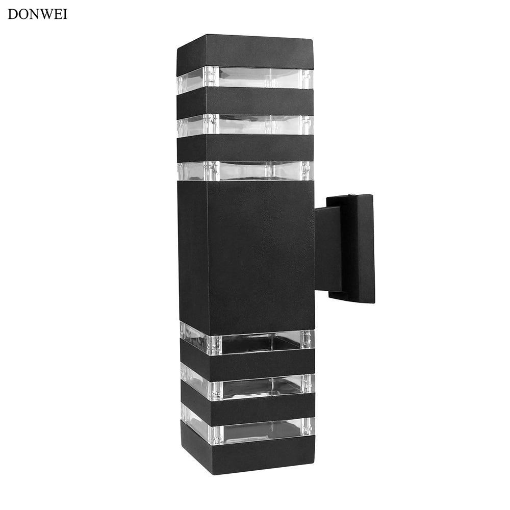 DONWEI E27 Up Down Dual-Head LED Wall Light Outdoor Decorative Waterproof Aluminum Wall Lamp for Yard Porch Corridor Balcony