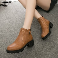 2019 Chunky Women Boots Short Plush Square Heels Ankle Boots Round Toe Zippers Spring Autumn Ladies Shoes Size 35-43 fgb78