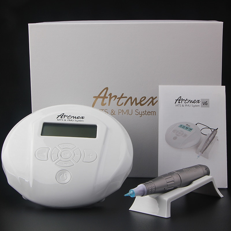 تجميل دائم آلة لوشم الحاجب مع لوحة التحكم الرقمي Micropigmentation جهاز الشفاه القلم Artmex V6 مع 5 الإبر GF
