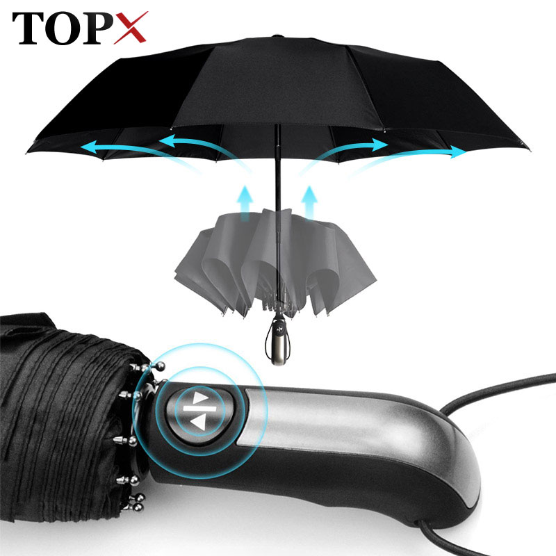 Wind Resistant Fully-Automatic Umbrella Rain Women For Men 3Folding Gift Parasol Compact Large Trave