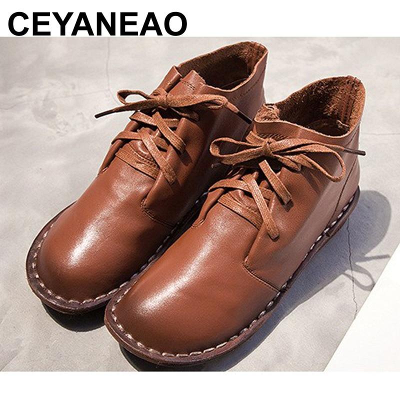 CEYANEAOAutumn winter new ladies leather Women's shoes 36-40 warm hot leisure series low cylinder head Female  Women bootsE966