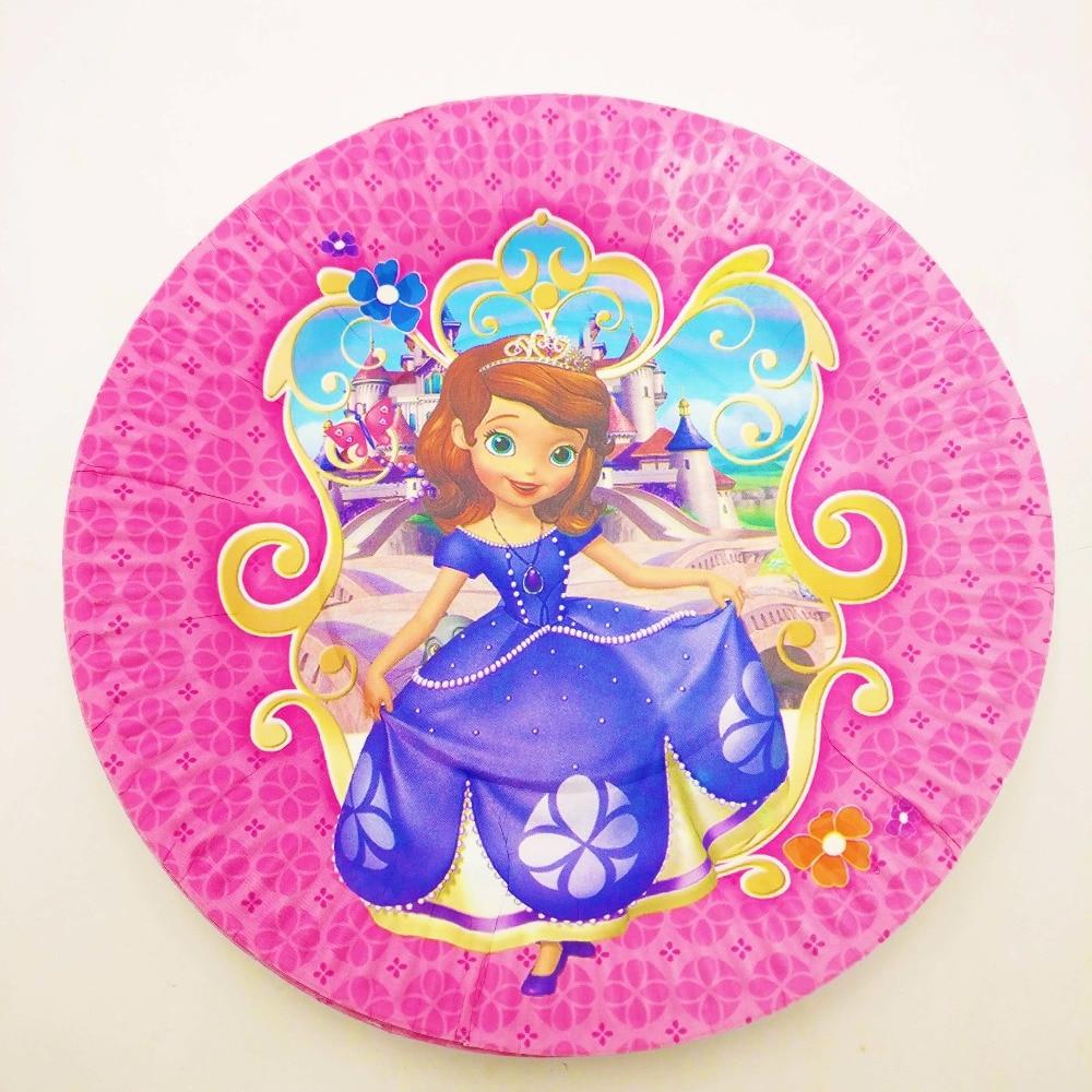 10 unids/set Sofia placas 7 pulgadas niños suministros de fiesta de cumpleaños papel Sofia platos suministros para fiesta de cumpleaños suministros de fiesta de cumpleaños de platos desechables
