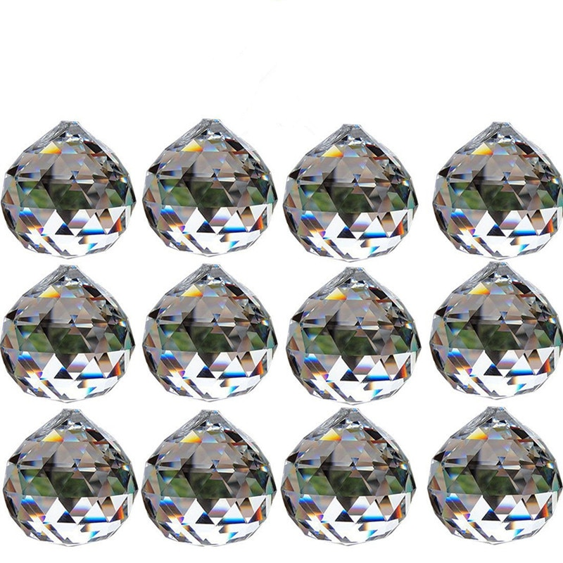 12 stücke 30mm Klar Kristall Ball Prismen Anhänger Feng Shui Suncatcher Dekorieren Hängen Faceted Prisma Bälle Für Home Hochzeit decor