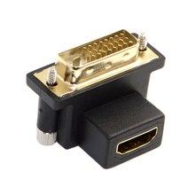 CY 90 stopni w dół pod kątem DVI wtyk męski do HDMI kobieta przejściówka do komputera i HDTV i karty graficznej