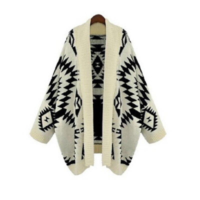 2016 Autumn Winter New Casual Vintage Geometric Loose Batwing Cape Poncho Women Knitwear Coat Cardigan Sweater Shawl Plus Size
