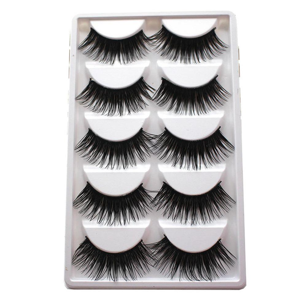 5Pairs/Box Soft Charming Extra Long Thick Cross Natural False Eyelashes Handmade Fake Eye Lashes Makeup Extension Tools