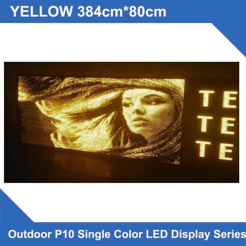 Pantallas LED de diseño personalizado, pantallas LED multilíneas, 384x80 cm, P10, pantalla led amarilla para exteriores, señal de mensaje desplazable led