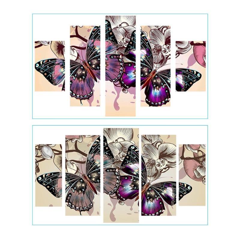 Colorido mariposa 5D DIY completo taladro diamante pintura 5-combinación de cuadros artesanía conjunto de kits de punto de cruz lienzo de diamantes de imitación