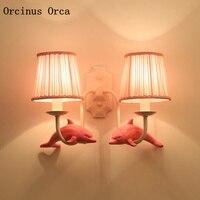 European Pastoral pink Dolphin Wall Lamp girls'Bedroom Children's Room Lamp Cartoon Creative LED Small Fish Wall Lamp