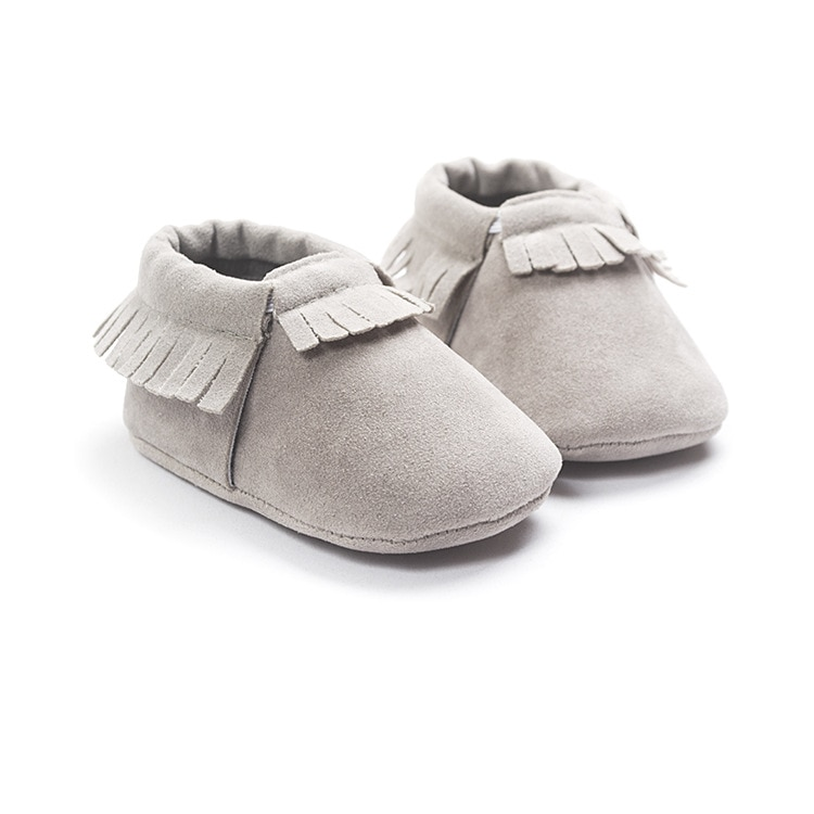 Baywell PU Suede Leather Newborn Baby Moccasins Shoes Soft Soled Non-slip Crib First Walker