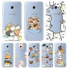 Задняя крышка для Samsung Galaxy A6 A8 Plus 2018 A5 A7 Kawaii Cat Мягкий силиконовый чехол для телефона Samsung Galaxy A3 A5 A7 2016 2017