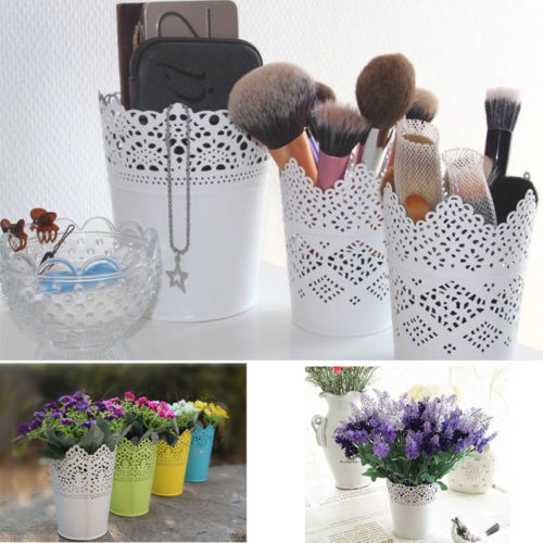 Florero de encaje para maquillaje, maceta, pluma, maquillaje, organizador de botellas de almacenamiento, organizador de escritorio