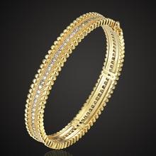 Zlxgirl Brand Copper Bangle & Bracelet For Women Best Wedding Jewellery Shiny Noble AAA Zirconia Bangles Womens Pulseras Mujer