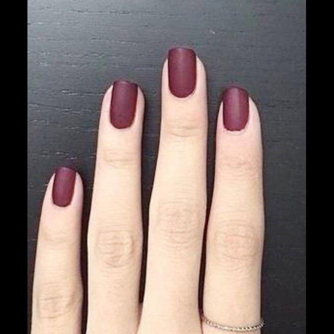24pcs sexy Matte material vampire Fuchsia color False nails Fake Nails Tip Finished artificial fingernails nail art supplies