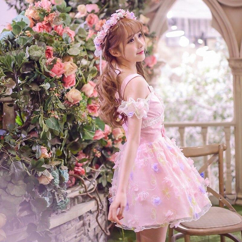 Princesa doce lolita vestido doces chuva design exclusivo verão menina bolo impressão borboleta chiffon vestido c16ab6052