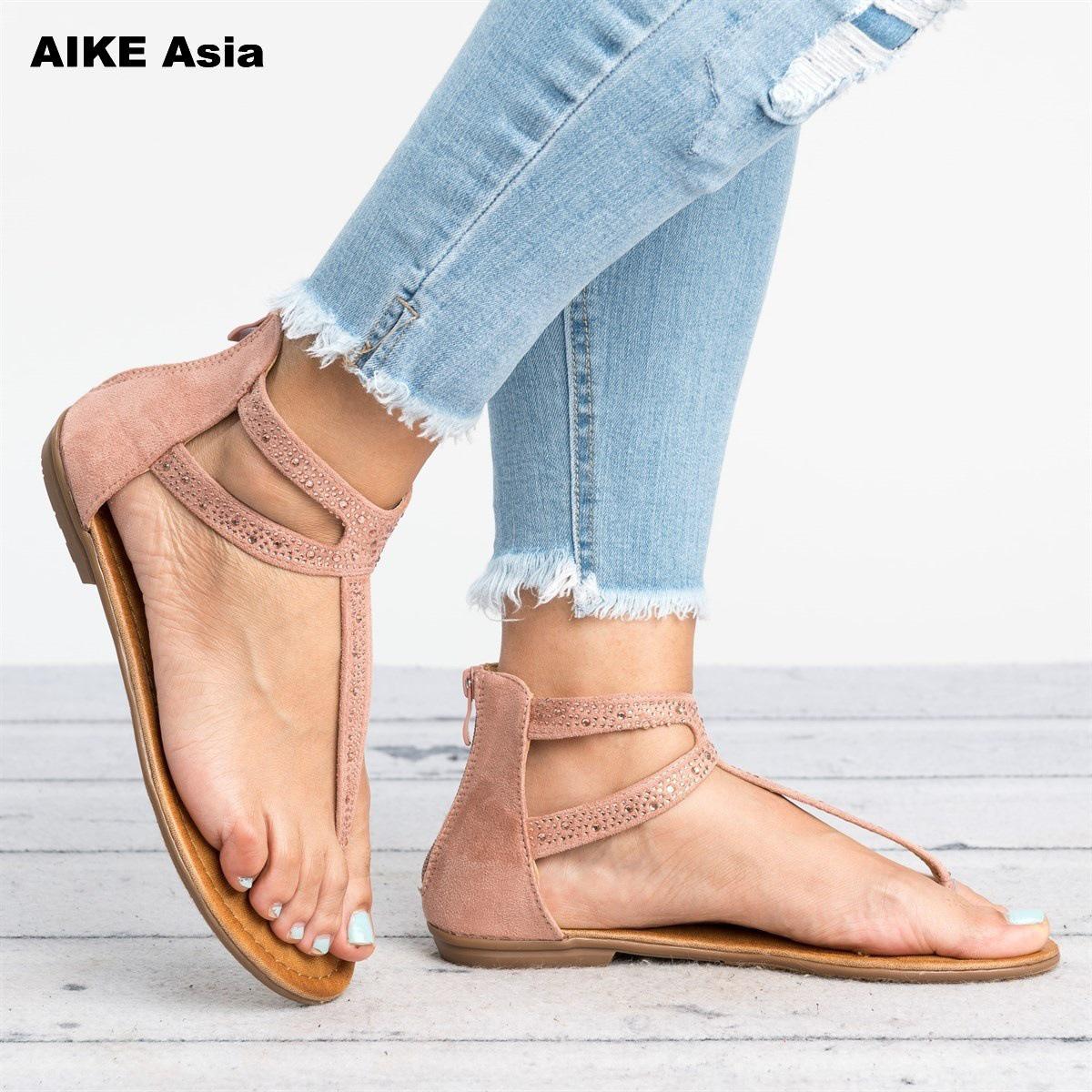 Women Bohemian Ethnic Crystal Rhinestone Flat Sandals Roman Gladiator Flip Flops Petal Flower Shoes Girl Wedding Casual