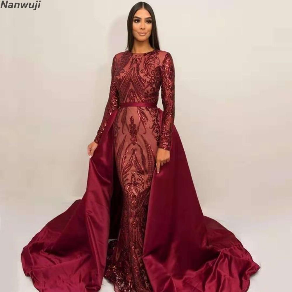 2019 Silver Glitter Sequins Mermaid Evening Dress Arabic Dresses Detachable Train Evening Gown Muslim Evening Dress фото