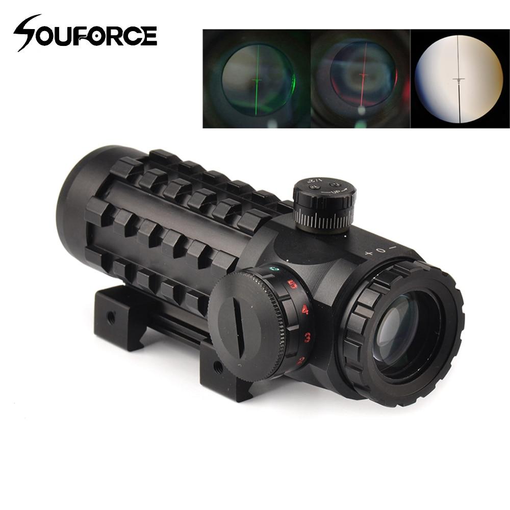 Mira telescópica óptica 4x28, mira telescópica de retícula roja/verde, ajuste multicapa de 20mm/11mm, Base de riel para rifles de caza