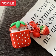 3D Niedlich Obst Erdbeere Kopfhörer Abdeckung Für Apple AirPods 2 Silikon Fall AirPods2 Schutz Air Schoten Haut Zubehör Schlüssel Ring