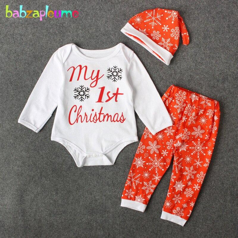 Conjunto de 3 piezas/My First Christmas para bebé niña ropa linda letra manga larga Body + Pantalones + sombreros ropa de recién nacido BC1259