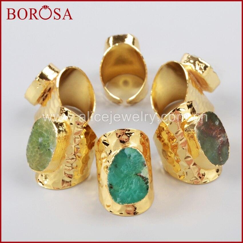 BOROSA 5pcs Natural Australian Stone Gold Band Ring,Natural Gems Stone Rings Adjustable Druzy Ring Party Gifts G1035