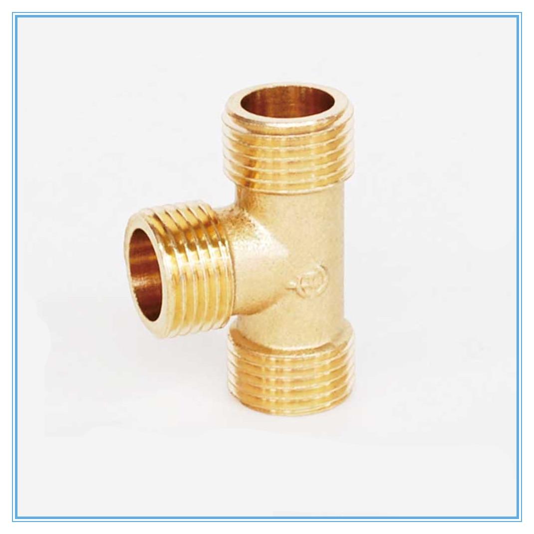 "1/8 ""1/4"" 3/8 ""1/2"" BSP rosca macho en T 3 vías, adaptador de tubo de latón, conector acoplador para agua"