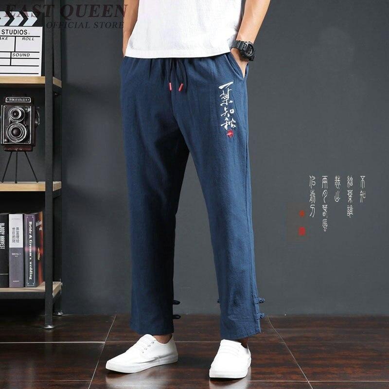 Calças de kk2001 h, calças tradicionais masculinas de linho estilo oriental kk2001 h