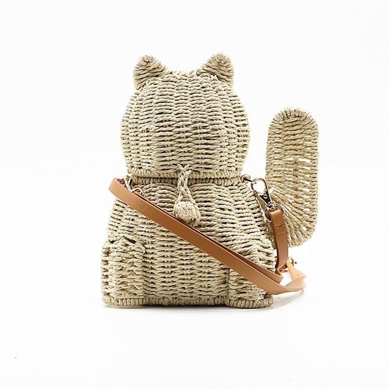 new rattan straw bags Ladies Lucky Fashion cat Crossbody Messenger Hand Bags Women Girl basket free shipping