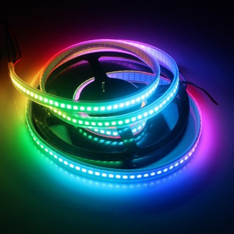 1 m/4 m/5 m WS2812B inteligente RGB tira de píxeles LED negro/blanca PCB 30/60/144 leds/m IC LED píxeles impermeable IP67/IP20 DC5V de tira de RGB